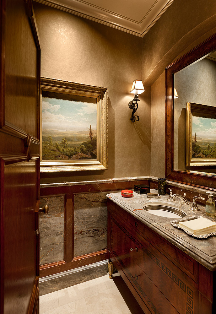 Montecito His Powder Room - Jennifer Bevan Interiors
